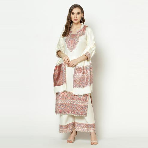Safaa - Off-white Colored Party Wear Zari Woven Print Acro Wool Dress Material