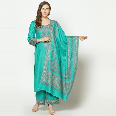 Safaa - Green Colored Party Wear Zari Woven Print Acro Wool Dress Material