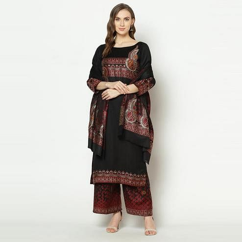 Safaa - Black Colored Party Wear Zari Woven Print Acro Wool Dress Material
