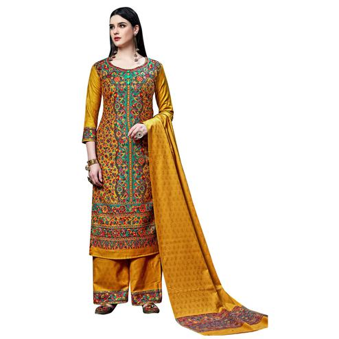 Safaa - Mustard Yellow Colored Party Wear Printed Rayon Acro Wool Dress Material