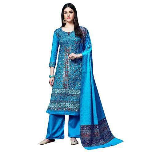 Safaa - Blue Colored Party Wear Printed Rayon Acro Wool Dress Material