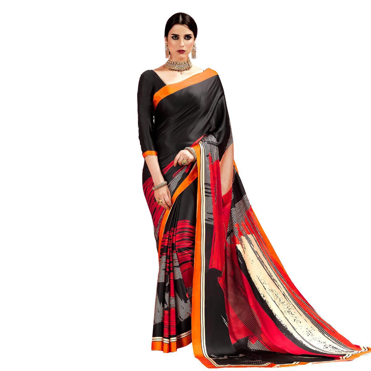 Black - Orange Casual Printed Crape Silk Saree