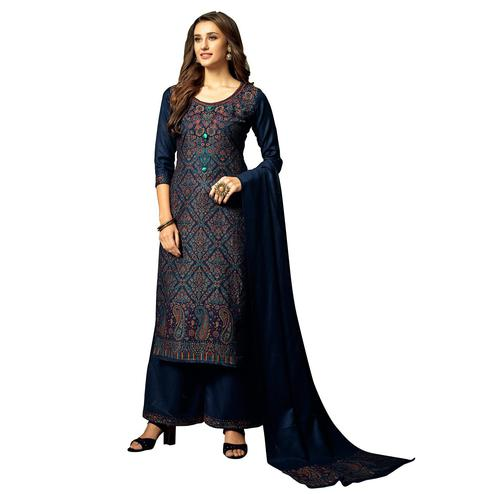 Safaa - Navy Blue Colored Party Wear Printed Rayon Acro Wool Dress Material