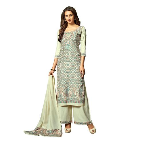 Safaa - Light Green Colored Party Wear Printed Rayon Acro Wool Dress Material