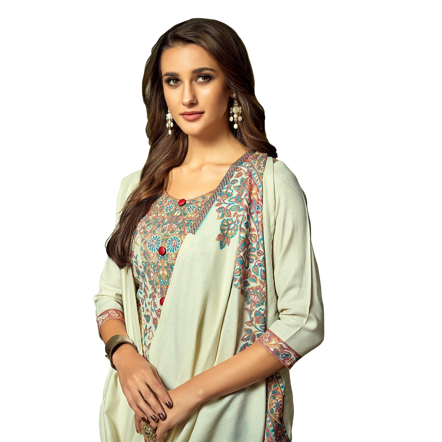 Safaa - Pista Green Colored Party Wear Printed Rayon Acro Wool Dress Material