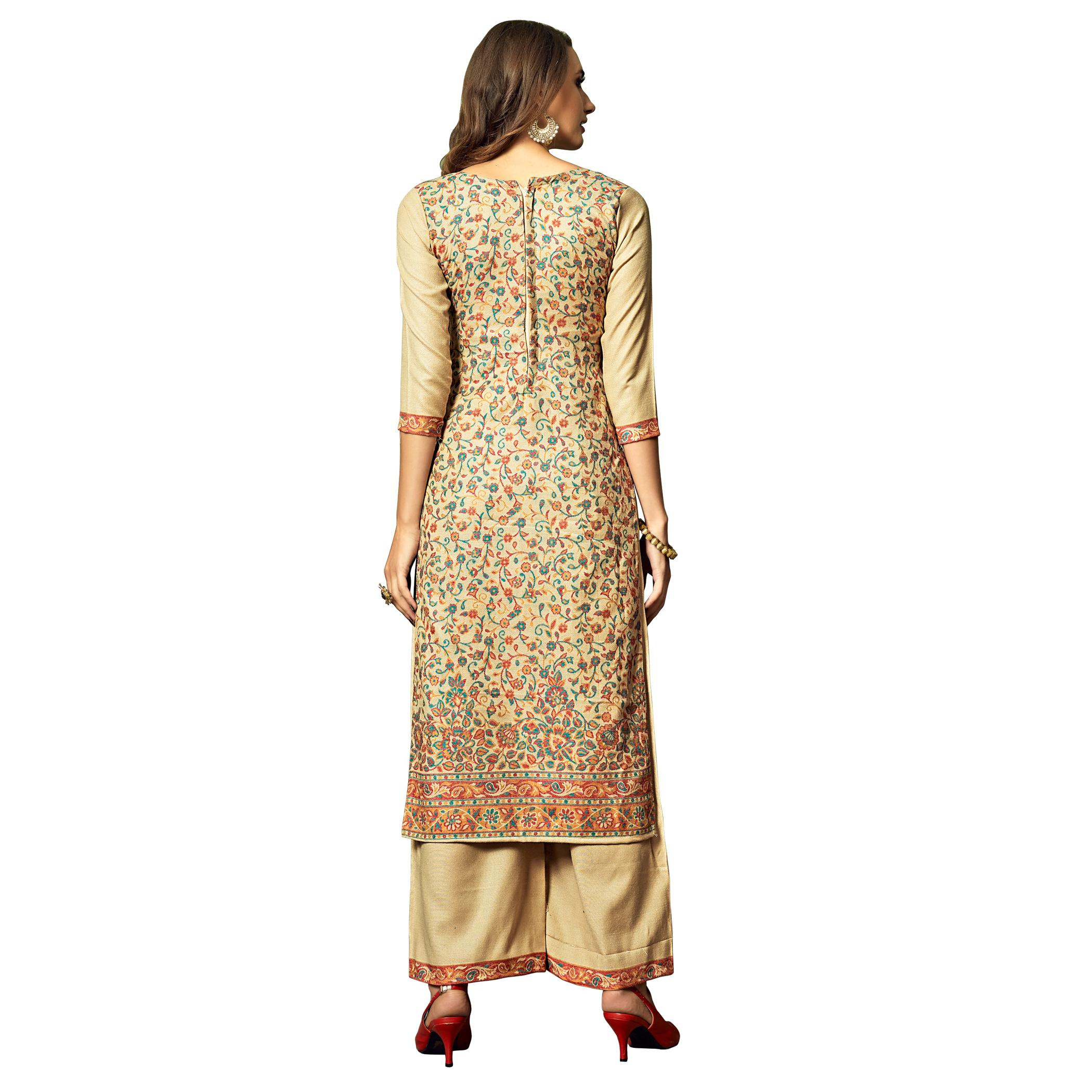Safaa - Beige Colored Party Wear Printed Rayon Acro Wool Dress Material