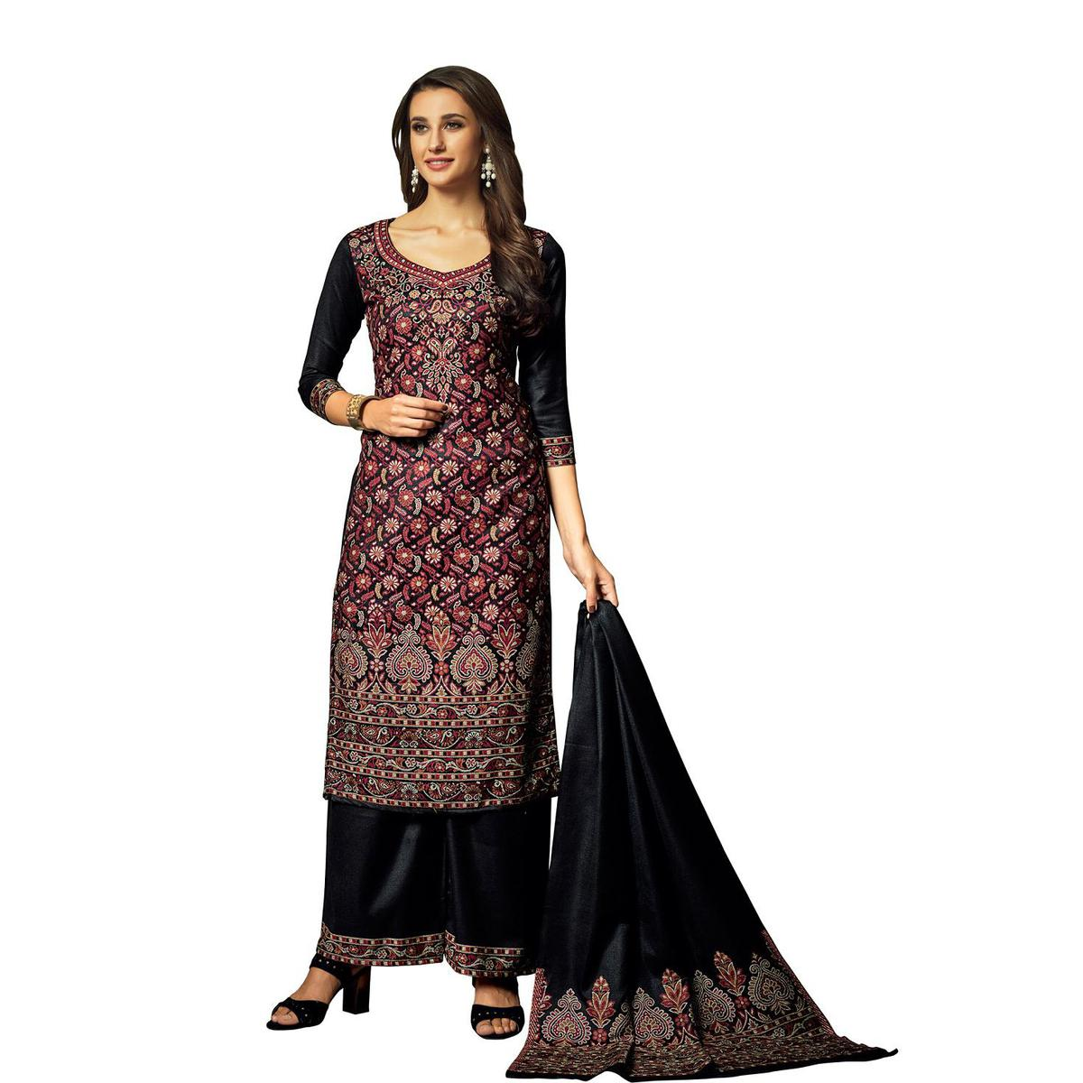 Safaa - Black Colored Party Wear Printed Rayon Acro Wool Dress Material