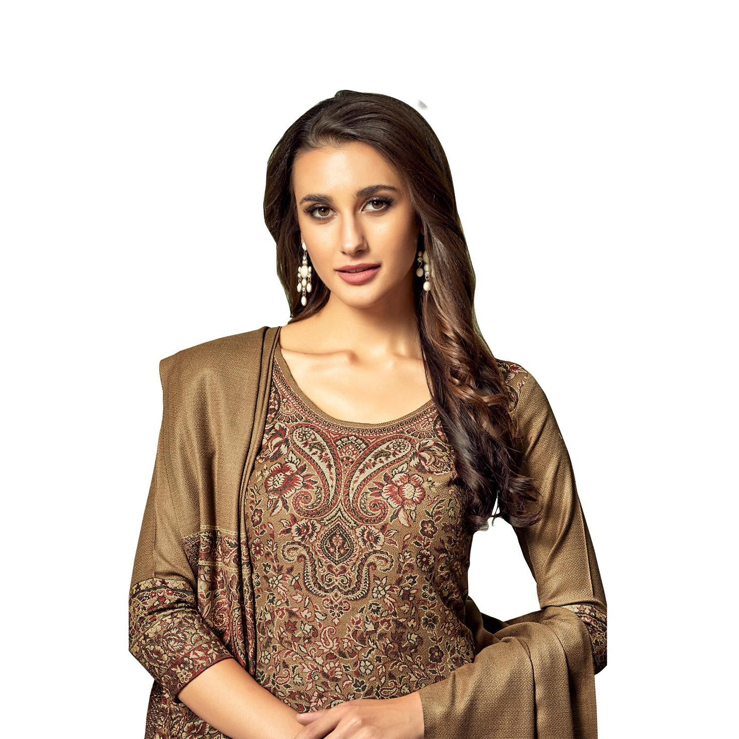 Safaa - Brown Colored Party Wear Printed Rayon Acro Wool Dress Material