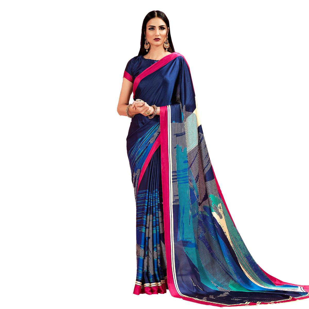 Navy Blue Casual Printed Crape Silk Saree