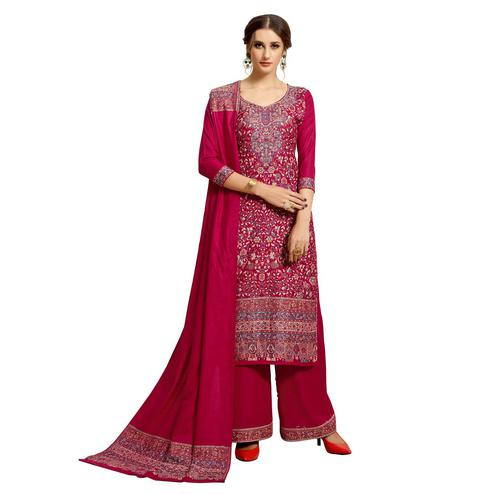 Safaa - Magenta Pink Colored Party Wear Printed Rayon Acro Wool Dress Material
