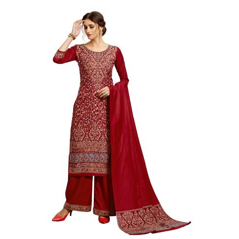 Safaa - Maroon Colored Party Wear Printed Rayon Acro Wool Dress Material