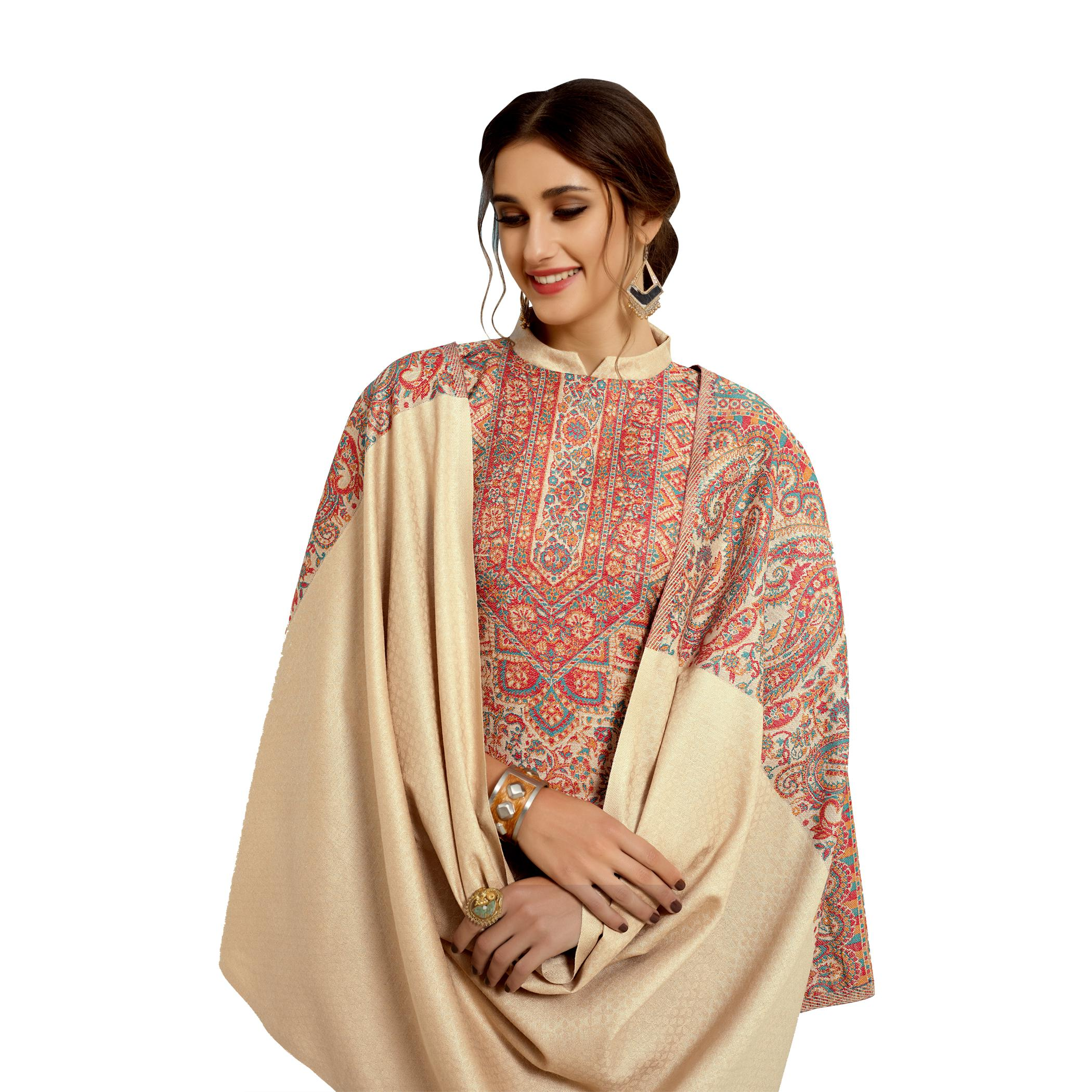 Safaa - Cream Colored Party Wear Printed Rayon Acro Wool Dress Material