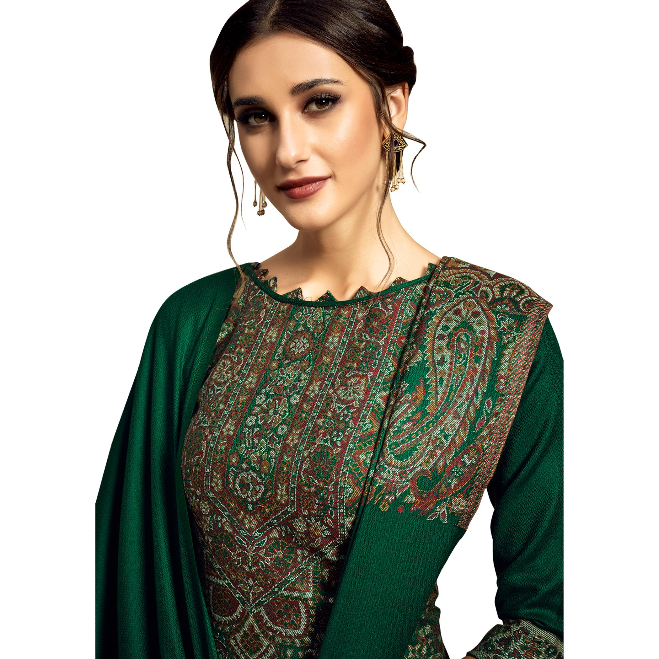 Safaa - Green Colored Party Wear Printed Rayon Acro Wool Dress Material