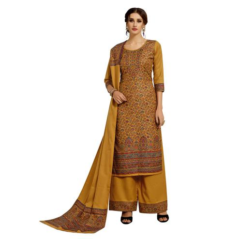 Safaa - Gold Colored Party Wear Printed Rayon Acro Wool Dress Material