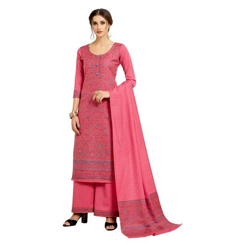 Safaa - Pink Colored Party Wear Printed Rayon Acro Wool Dress Material