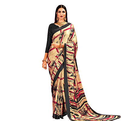 Beige - Red Casual Printed Crape Silk Saree