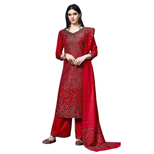 Safaa - Red Colored Party Wear Printed Rayon Acro Wool Dress Material