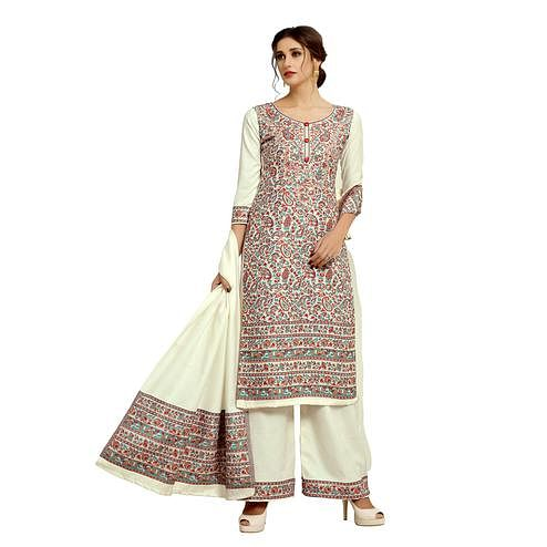 Safaa - Off-white Colored Party Wear Printed Rayon Acro Wool Dress Material