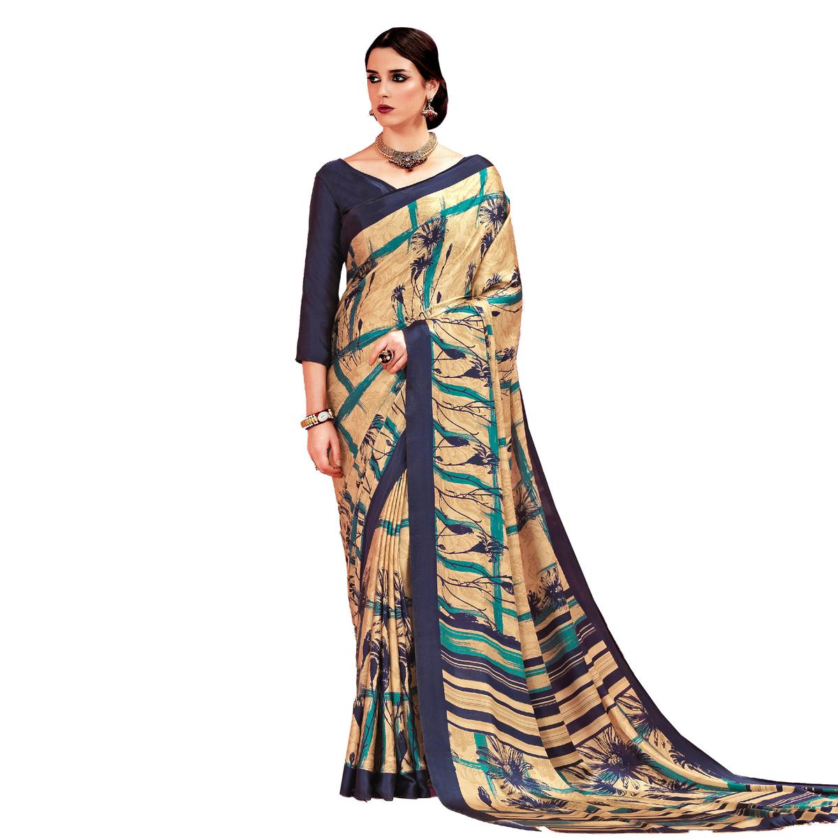 Beige - Blue Casual Printed Crape Silk Saree