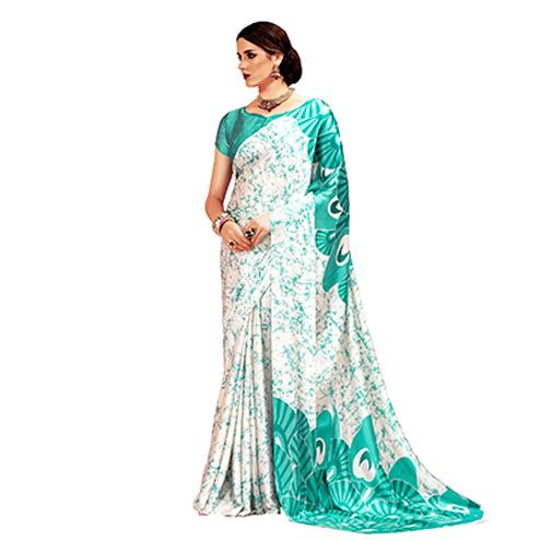 Offwhite - Green Casual Printed Crape Silk Saree