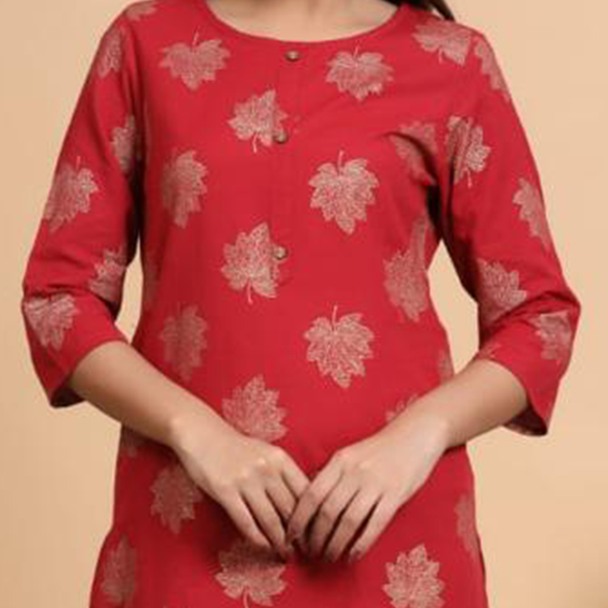 Aariya Designs - Red Colored Casual Wear Embroidered Cotton Kurti