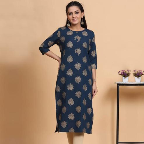 Aariya Designs - Blue Colored Casual Wear Embroidered Cotton Kurti