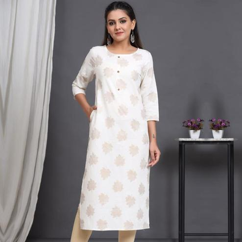 Aariya Designs - White Colored Casual Wear Embroidered Cotton Kurti