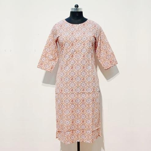 Aariya Designs - Light Peach Colored Casual Wear Printed Cotton Kurti