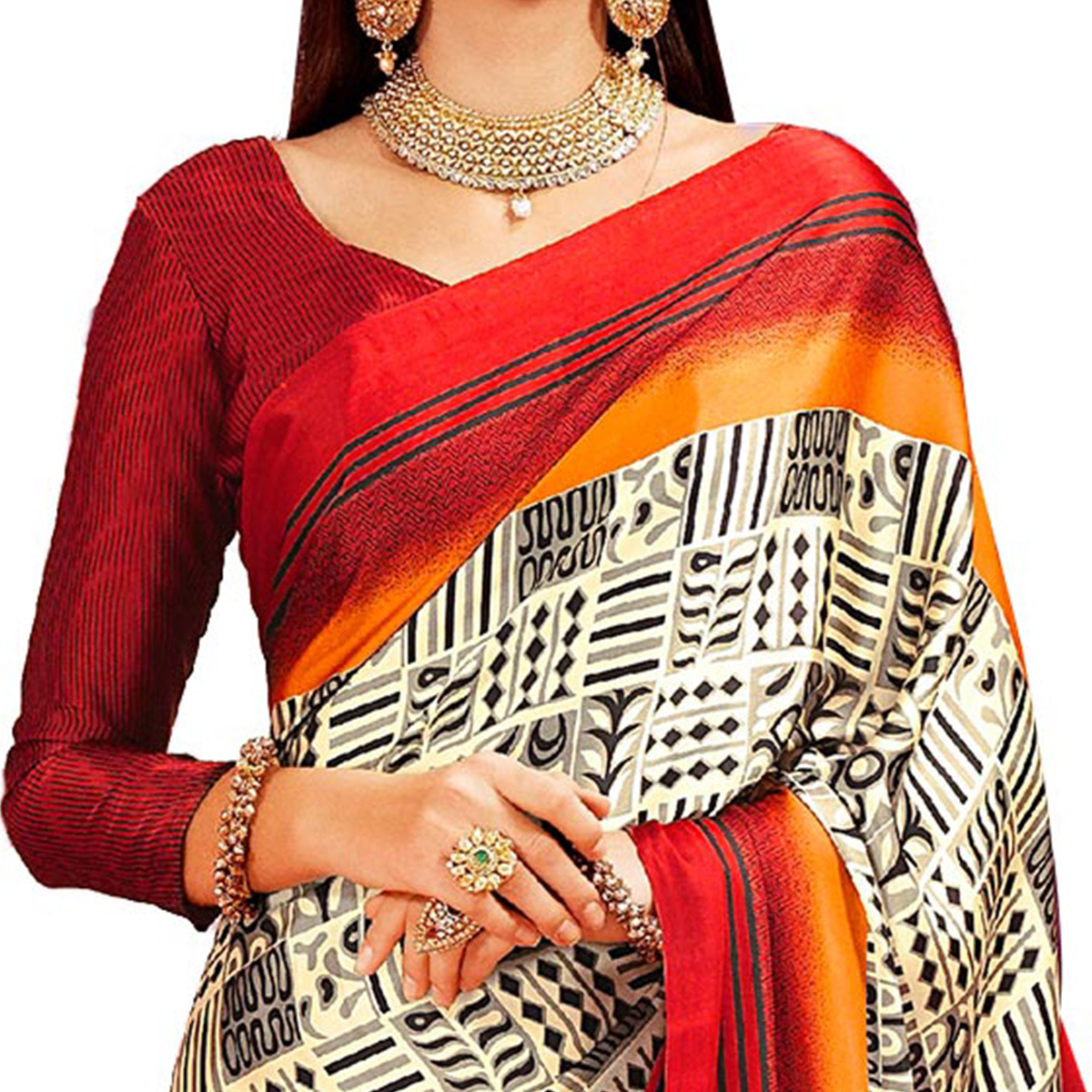 Light Yellow - Maroon Casual Printed Crape Silk Saree