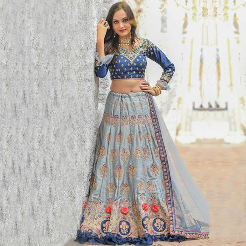 Innovative Grey Colored Party Wear Embroidered Silk Lehenga Choli