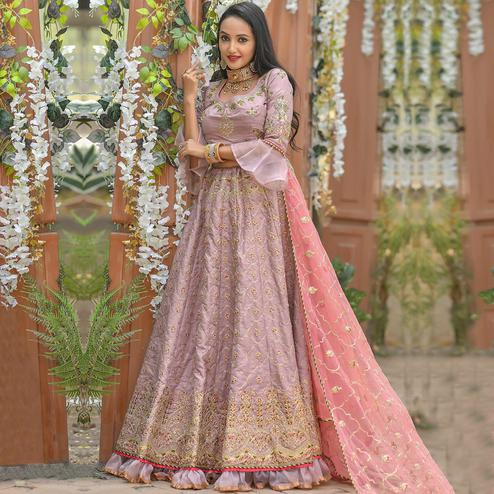 Eye-catching Pink Colored Party Wear Embroidered Silk Lehenga Choli