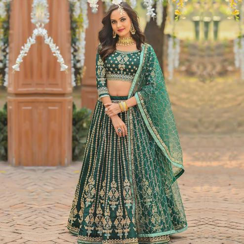 Fantastic Green Colored Party Wear Embroidered Silk Lehenga Choli