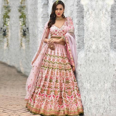 Gorgeous Pink Colored Party Wear Embroidered Silk Lehenga Choli