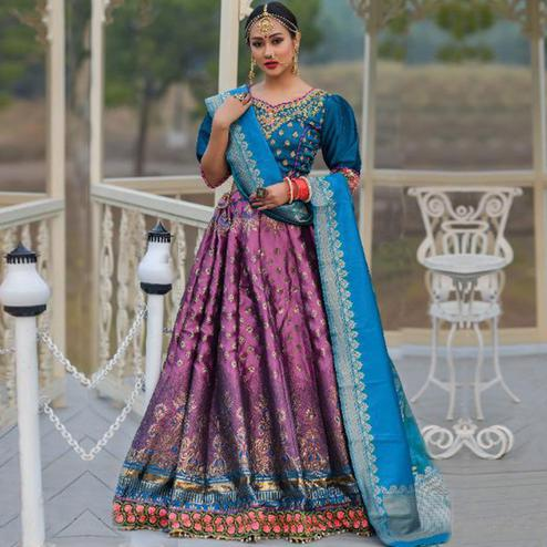 Opulent Purple Colored Party Wear Woven Banarasi Silk Lehenga Choli