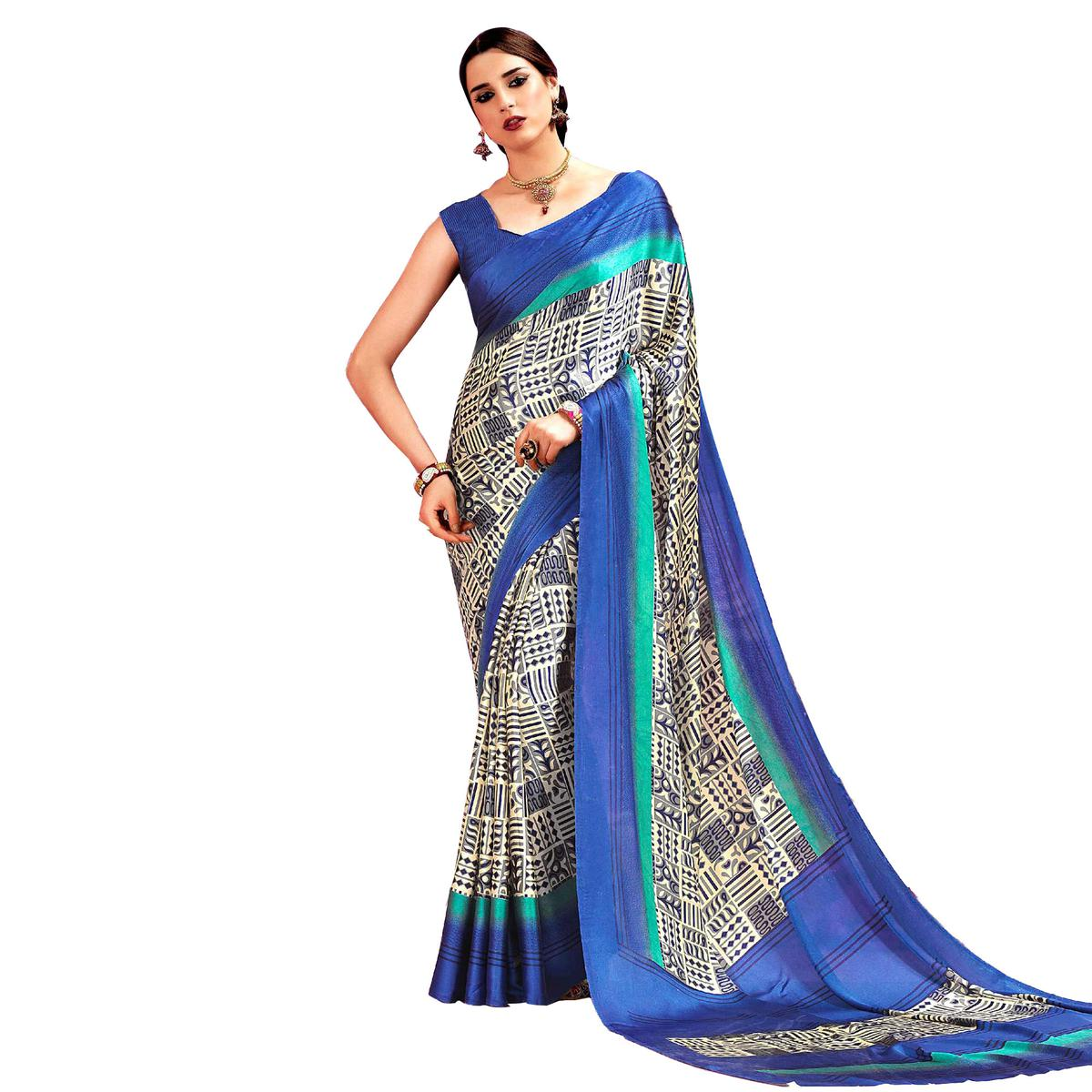 Light Yellow - Blue Casual Printed Crape Silk Saree