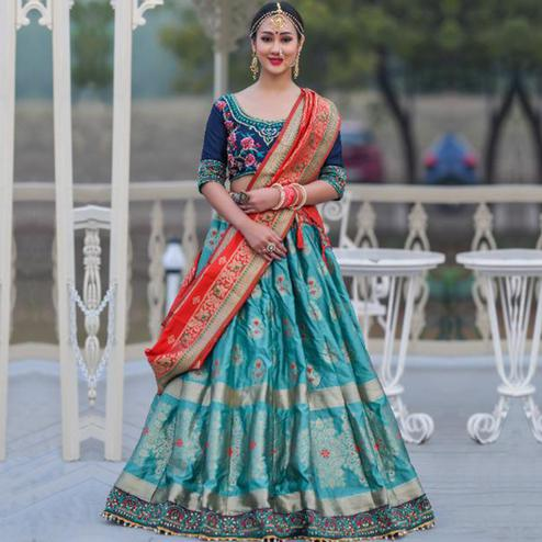 Mesmeric Teal Blue Colored Party Wear Woven Banarasi Silk Lehenga Choli