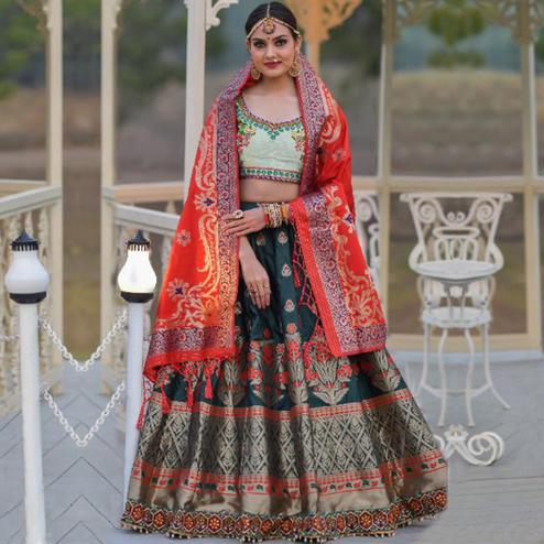 Demanding Green Colored Party Wear Woven Banarasi Silk Lehenga Choli