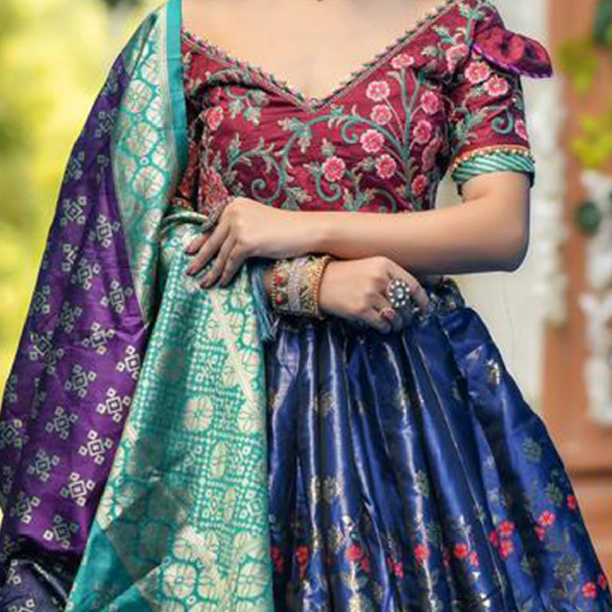 Gorgeous Navy Blue Colored Party Wear Woven Banarasi Silk Lehenga Choli
