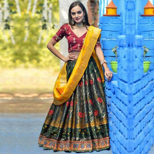 Ideal Green Colored Party Wear Woven Banarasi Silk Lehenga Choli