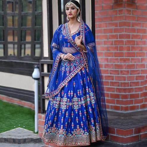 Flattering Blue Colored Party Wear Embroidered Silk Lehenga Choli