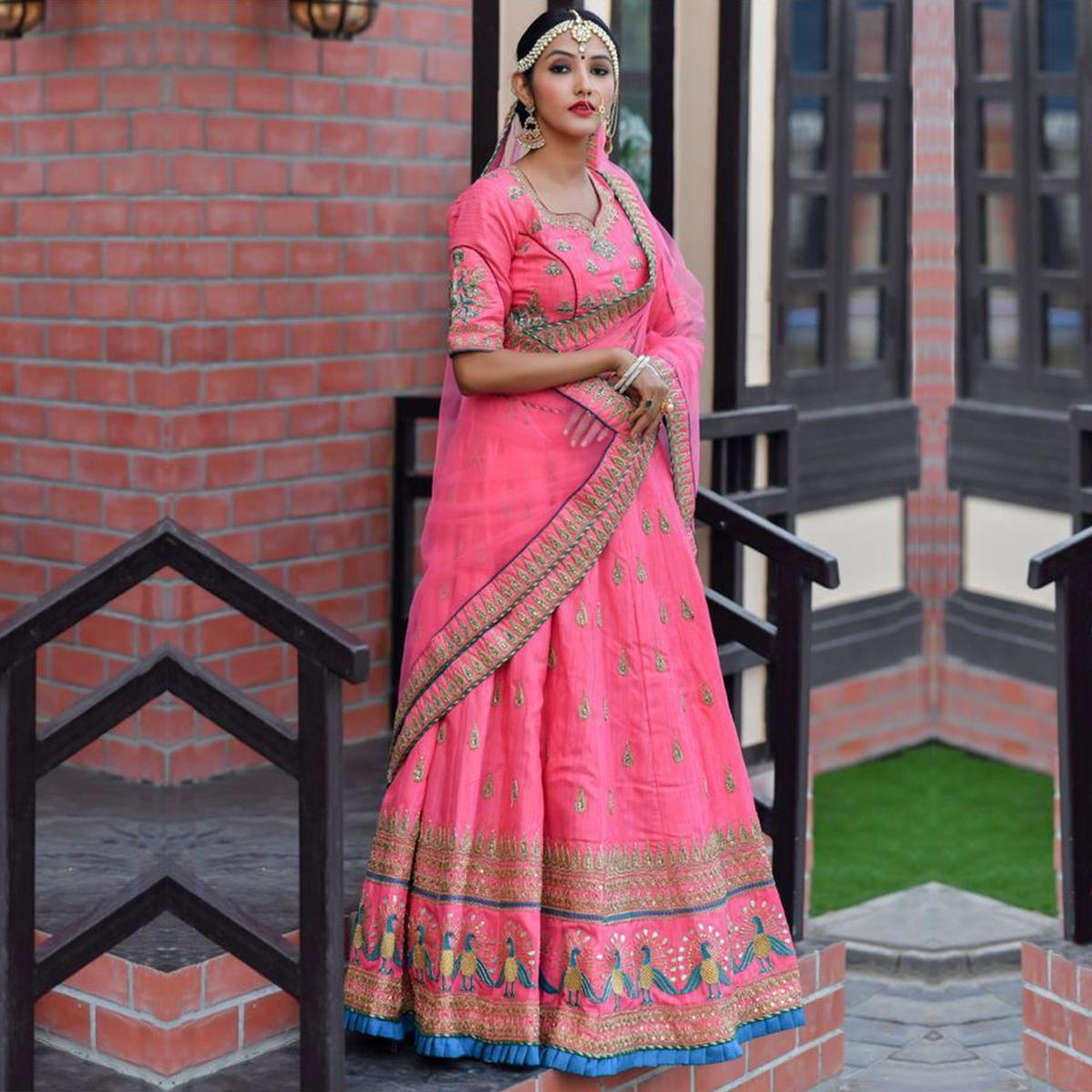 Marvellous Pink Colored Party Wear Embroidered Silk Lehenga Choli