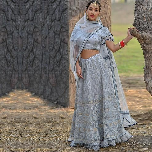 Blissful Grey Colored Party Wear Embroidered Net Lehenga Choli