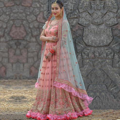 Ideal Pink Colored Party Wear Embroidered Net Lehenga Choli
