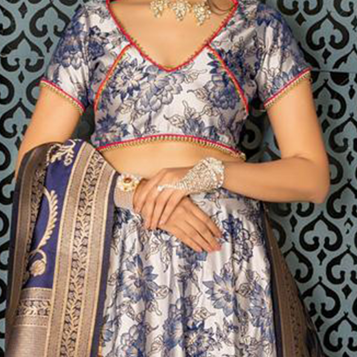 Flattering Light Grey Colored Party Wear Woven Jacquard Lehenga Choli