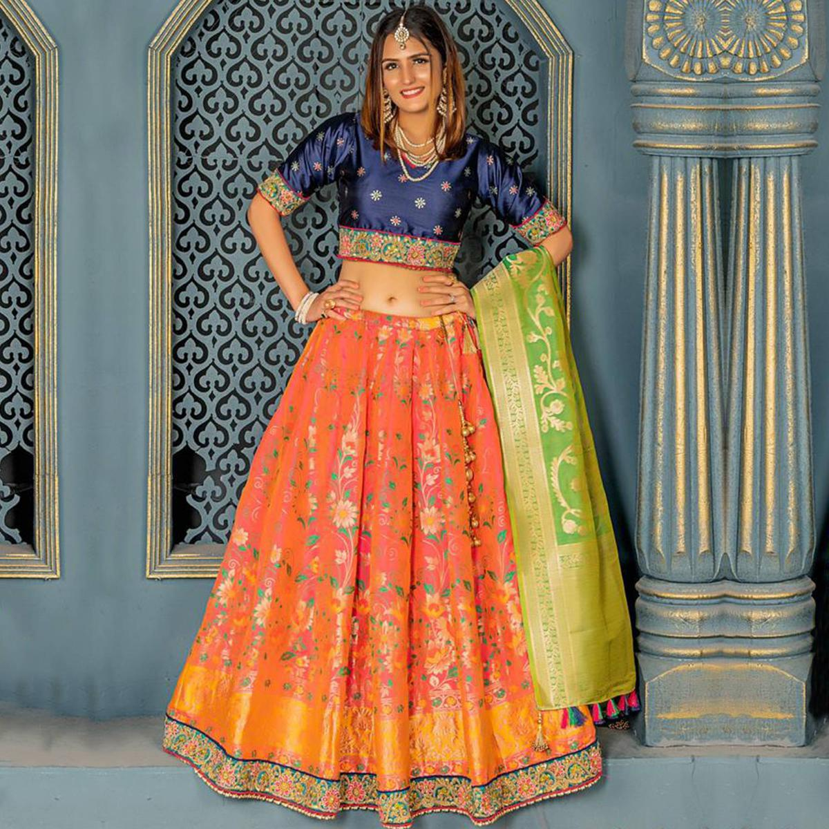 Excellent Orange Colored Party Wear Woven Banarasi Silk Lehenga Choli
