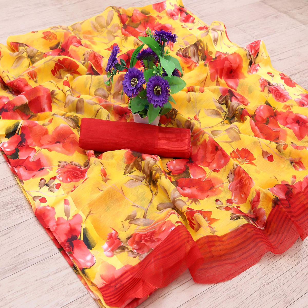 Blooming Yellow Colored Casual Wear Floral Printed Cotton Blend Saree