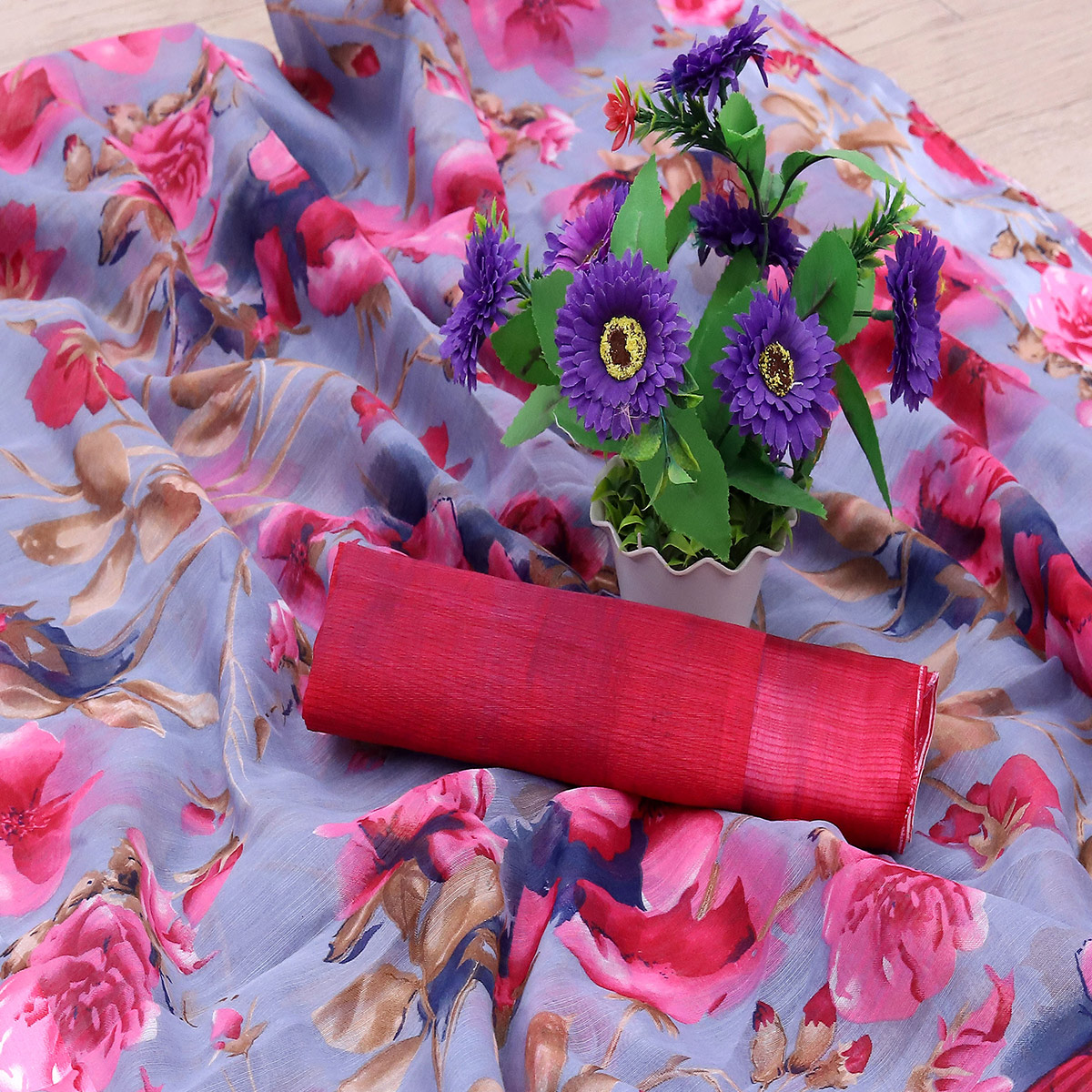 Charming Lavendar Colored Casual Wear Floral Printed Cotton Blend Saree