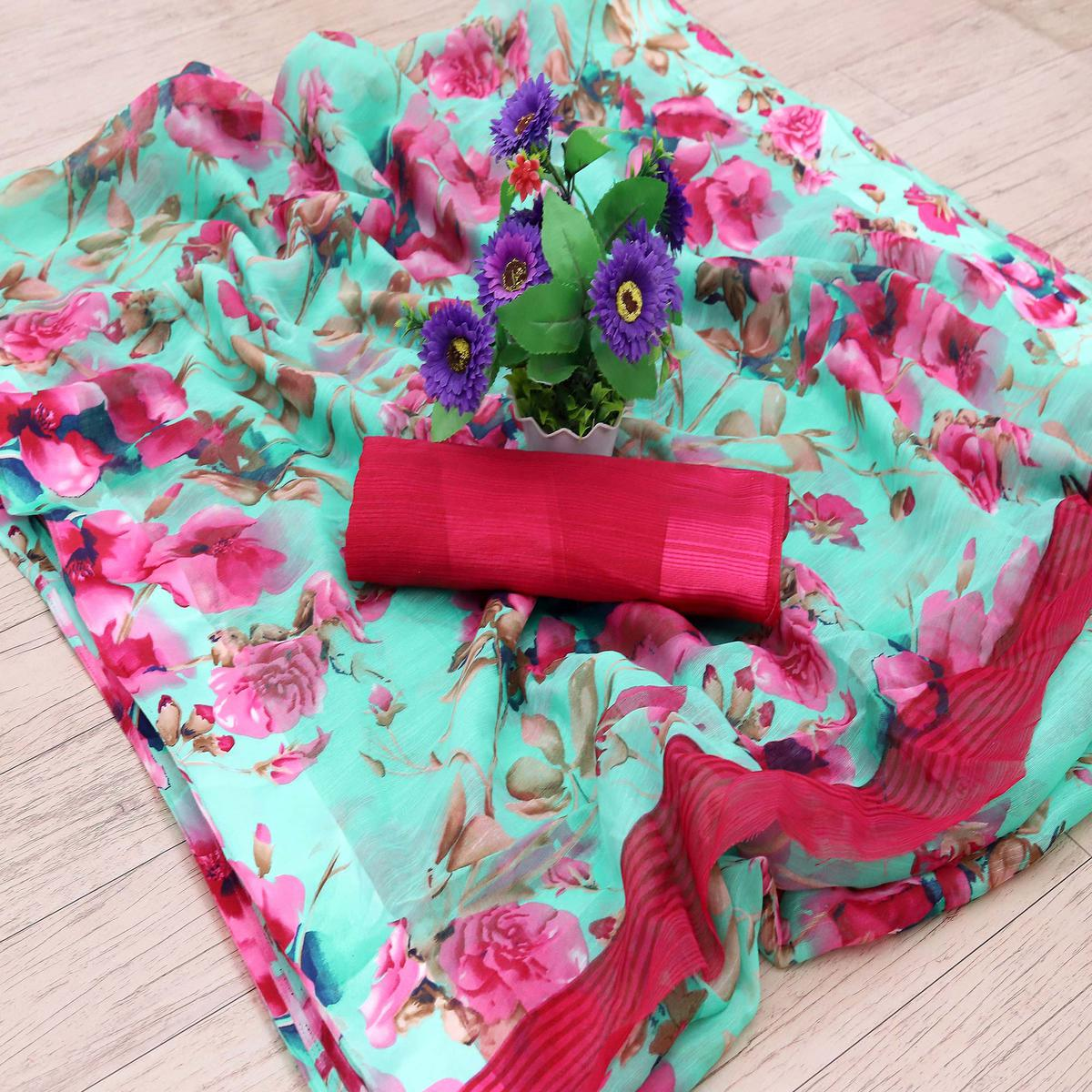 Jazzy Aqua Blue Colored Casual Wear Floral Printed Cotton Blend Saree