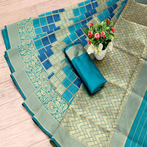 Captivating Turquoise Colored Festive Wear Woven Art Silk Saree