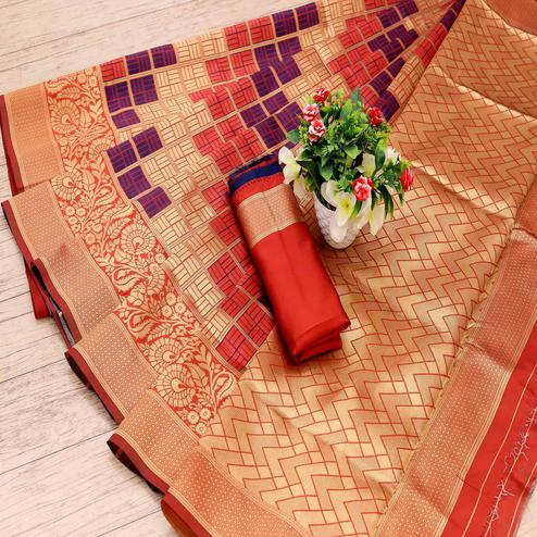 Innovative Orange Colored Festive Wear Woven Art Silk Saree